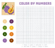 Color by number, fruits and vegetables, plum. Color by number, education game for children. Fruits and vegetables, plum. Coloring book with numbered squares Royalty Free Stock Photos