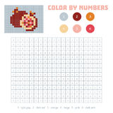 Color by number, fruits and vegetables, pomegranate. Color by number, education game for children. Fruits and vegetables, pomegranate. Coloring book with Stock Photo
