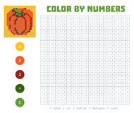 Color by number, fruits and vegetables, pumpkin Stock Photos