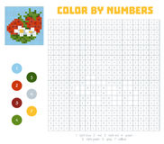 Color by number, fruits and vegetables, strawberry. Color by number, education game for children. Fruits and vegetables, strawberry. Coloring book with numbered Royalty Free Stock Image