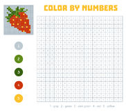 Color by number, fruits and vegetables, strawberry. Color by number, education game for children. Fruits and vegetables, strawberry. Coloring book with numbered Stock Photography