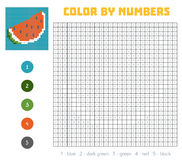 Color by number, fruits and vegetables, watermelon. Color by number, education game for children. Fruits and vegetables, watermelon. Coloring book with numbered Stock Images