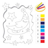 Color by number game. For kids with cute moon cartoon and star ornaments Stock Photo