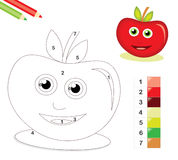 Color by number game with apple. Color by number game with cute apple cartoon character Royalty Free Stock Photo