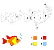 Color by number game: The fish Stock Photos