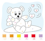 Color by number game: teddy bear vector illustration