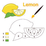 Color by number: lemon. Color by number game with lemon fruit. Eps file available Stock Images
