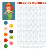 Color by number, Mermaid. Color by number, education game for children, Mermaid Royalty Free Stock Photo
