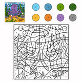 Color by number (octopus). Game for children: Color by number (octopus Stock Photos