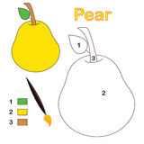 Color by number: pear. Color by number game with pear fruit. Eps file available Royalty Free Stock Photos