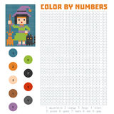 Color by number, Witch. Color by number, education game for children, Witch Royalty Free Stock Images