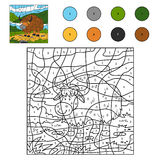 Color by number (yak). Game for children: Color by number (yak Royalty Free Stock Image