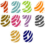 Color numbers. Colored digit from one to zero in colorful stripes Stock Image