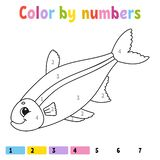 Color by numbers. Coloring book for kids. Cheerful character. Vector illustration. Cute cartoon style. Hand drawn. Fantasy page. For children. Isolated on white stock illustration