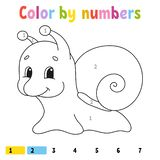 Color by numbers. Coloring book for kids. Cheerful character. Vector illustration. Cute cartoon style. Hand drawn. Fantasy page royalty free illustration