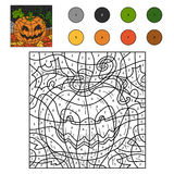 Color by numbers: Halloween pumpkin Royalty Free Stock Photo