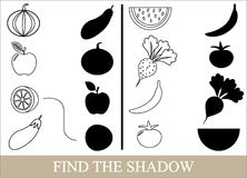 Color objects of vegetables, berries and fruits and find the correct shadow. Game for children Stock Photo