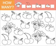 Color objects of vegetables, berry and fruit and count how many. Color objects of vegetables, berry and t and count how many them. Game for children stock illustration