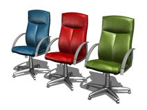 COLOR office chairs. BLUE office chair 3d model Royalty Free Stock Images