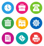 Color office icons. Color circular office icons isolated on white background.  EPS 10 vector illustration, contains NO transparencies Royalty Free Stock Images