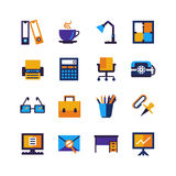 Color Office Isolated Icons Set Stock Photos
