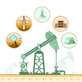 Color oil derrick and circle icons with stages of process Stock Photos