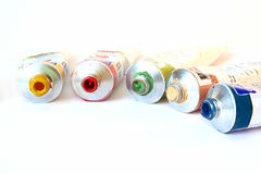 Color oil paint in tubes Royalty Free Stock Images