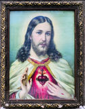 Color old picture of Jesus. And old frame Royalty Free Stock Photo
