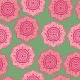 Color oriental a mano abstracto inconsútil del modelo, del rosa, rojo y verde del doddle ilustración del vector