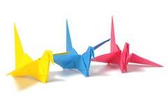 Color origami cranes Stock Photo