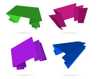 Color origami labels set Stock Images
