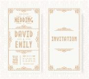 Color oro del estilo del art déco del sistema de tarjeta de la invitación de la boda en el fondo blanco con el marco