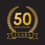 color oro retro de la 50.a del aniversario de los años guirnalda del laurel ilustración del vector