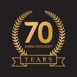color oro retro de la 70.a del aniversario de los años guirnalda del laurel ilustración del vector