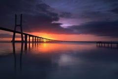 Color on the other side. Vasco da Gama bridge, Lisbon Stock Photography