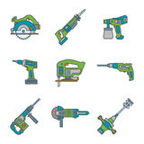 Color outline house remodel power tools icons Stock Image