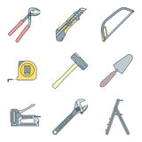 Color outline house remodel tools icons Stock Images