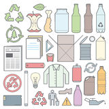 Color outline separated waste outlines icons and signs Stock Photography