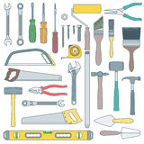 Color outline various house remodel instruments set Royalty Free Stock Photo