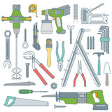 Color outline various house remodel instruments set. Vector colored outline various house repair tools instruments set Royalty Free Stock Image