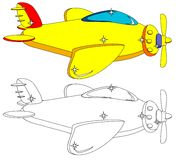 Color and Outline Version of the Aircraft. Vector. Royalty Free Stock Images