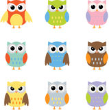 Color owls clip art. Owls with nine color combinations Royalty Free Stock Image