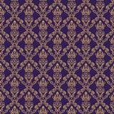 Color púrpura del papel pintado 1 inconsútil del damasco stock de ilustración