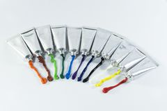 Color is packed in aluminum tubes. Stock Image