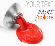 Color Paint. Tubes with the resulting colors on a white sheet of paper Stock Photography