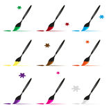 Color paint brush and paint vector icons set Stock Photo
