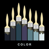 Color paint brush strokes on black page. Vector illustration. Stock Photo