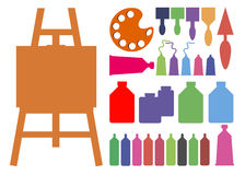Color paint brush vector abstract art. Easel Royalty Free Stock Photography