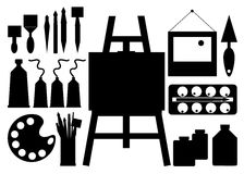 Color paint brush vector abstract art. Easel Stock Photography