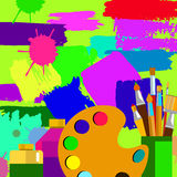 Color paint brush vector abstract design background paintbrush art Royalty Free Stock Photography